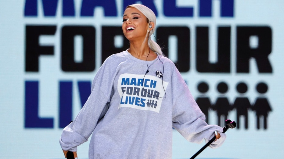 "Singer Ariana Grande performs the song ""Be Alright"" as students and gun control advocates hold the ""March for Our Lives"" event demanding gun control after recent school shootings at a rally in Washington, U.S., March 24, 2018."