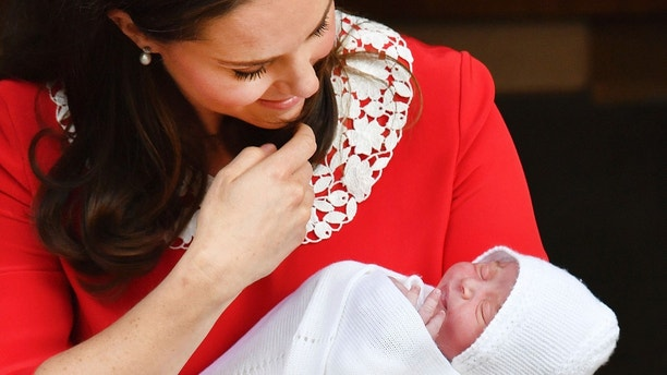 Kate Middleton with newborn - leaving hospital