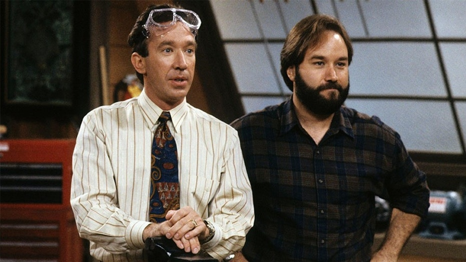 """Richard Karn (right) and Tim Allen of """"Home Improvement"""" fame shooting a scene."""