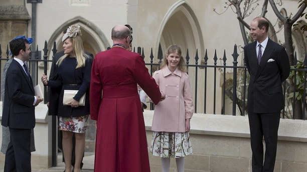 Britain's Lady Louise Windsor (2nd right) and Prince Edward (R) leave after attending the Easter Sunday service at St George's Chapel at Windsor Castle in southern England April 5, 2015. REUTERS/Neil Hall - GF10000050238