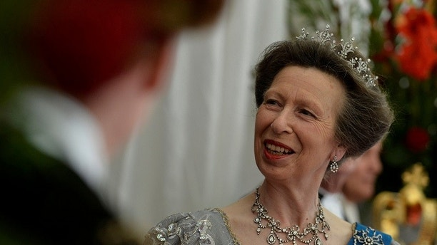 Britain's Princess Anne waits for the arrival of Spain's King Felipe and Queen Letizia for a banquet at the Guildhall in London, Britain, July 13, 2017. REUTERS/Hannah McKay - RC1CB4918170