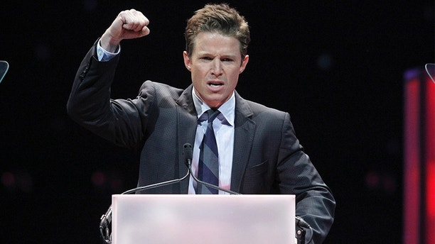 Television personality Billy Bush hosts the CinemaCon Big Screen Achievement Awards show at Caesars Palace in Las Vegas, Nevada, April 26, 2012. CinemaCon is the official convention for the National Association of Theatre Owners (NATO).  REUTERS/Steve Marcus (UNITED STATES - Tags: ENTERTAINMENT) - GM1E84R14XS01