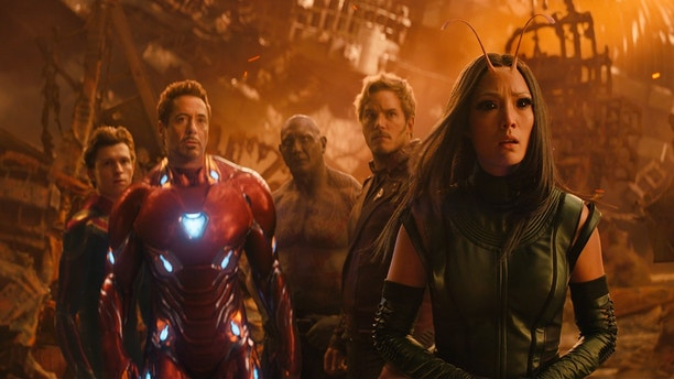 """This image released by Marvel Studios shows, from left, Tom Holland, Robert Downey Jr., Dave Bautista, Chris Pratt and Pom Klementieff in a scene from """"Avengers: Infinity War."""""""