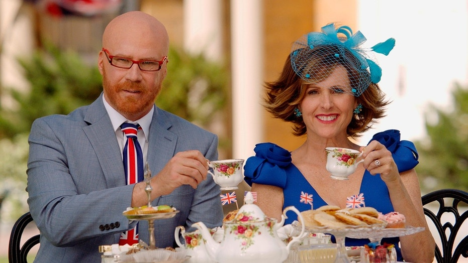 """This image released by HBO shows Will Ferrell as Cord Hosenbeck, left, and Molly Shannon as Tish Cattigan who will host the Royal Wedding in the HBO special """"The Royal Wedding Live with Cord and Tish!,"""" premiering on Saturday, May 19. (HBO via AP)"""