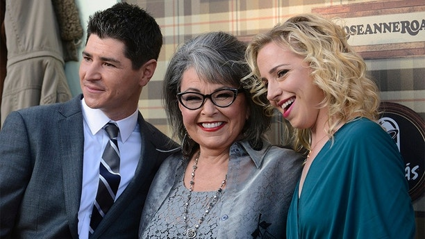 (L-R) Michael Fishman, Rosanne Barr and Alicia Goranson arrive for the taping of Comedy Central Roast of Roseanne in Los Angeles August 4, 2012. REUTERS/Phil McCarten (UNITED STATES - Tags: ENTERTAINMENT) - GM2E885154501