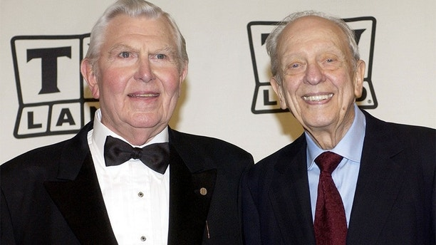 """Actors Andy Griffith (L) and Don Knotts pose backstage after accepting the Legend Award for their series """"The Andy Griffith Show"""" during a taping of the second annual TV Land Awards in Hollywood in this file March 7, 2004 file photo. Knotts, who won five Emmys for portraying the bungling deputy Barney Fife on """"The Andy Griffith Show,"""" has died, media reports said on February 25, 2006. He was 81. REUTERS/Jim Ruymen/Files - GM1DSAQZSUAA"""