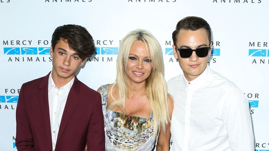 Pamela Anderson with sons Dylan (left) and Brandon.