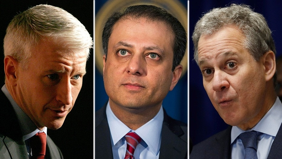 CNN's Anderson Cooper, left, didn't mention Eric Schneiderman, right, stepping down when speaking with Preet Bharara, seen as a potential successor.