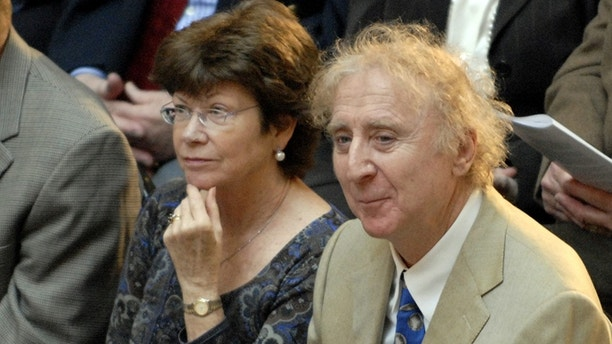 Actor Gene Wilder, right, sits with wife Karen before he is introduced to receive the Governor's Awards for Excellence in Culture and Tourism at the Legislative Office Building in Hartford, Conn., Tuesday, April 9, 2008. Wilder was one of four recipients of the award given by the Connecticut Commission on Culture and Tourism. (AP Photo/Jessica Hill)