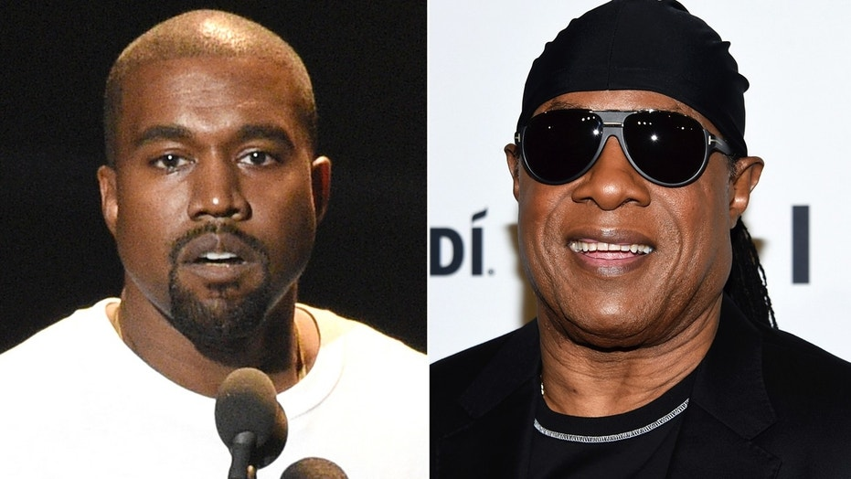 """In this combination photo Kanye West speaks at the MTV Video Music Awards in New York on Aug. 28, 2016, left, and Stevie Wonder attends the TIDAL X: Brooklyn 3rd Annual Benefit Concert in New York on Oct. 17, 2017.  Wonder has called out West for saying slavery is a """"choice,"""" calling the idea """"foolishness"""" likening it to Holocaust denial. Wonder brought up West without prompting during an interview Thursday, May 10, 2018, after a show at a West Hollywood club. (AP Photo)"""