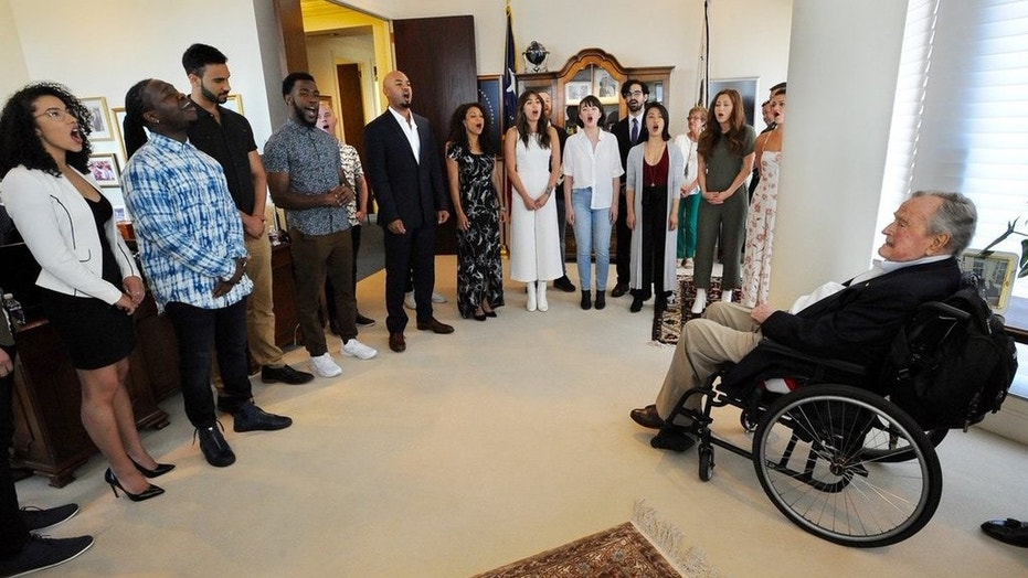 """Former President George H.W. Bush said the cast and crew of """"Hamilton"""" gave a """"special performance"""" at his Texas office."""