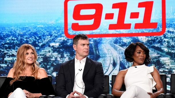 2018 FOX WINTER TCA: L-R: 9-1-1 cast members Connie Britton, Peter Krause and Angela Bassett  during the 9-1-1 panel at the 2018 FOX WINTER TCA at the Langham Hotel, Thursday, Jan. 4 in Pasadena, CA. CR: Frank Micelotta/FOX/PictureGroup