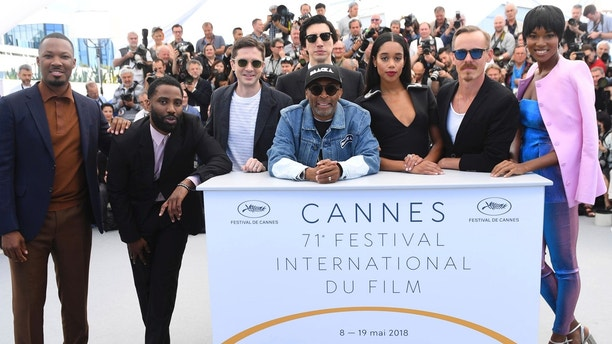 Actors Corey Hawkins, John David Washington, Topher Grace, Adam Driver, back, director Spike Lee, actors Laura Harrier, Jasper Paakkonen and Damaris Lewis pose for photographers during a photo call for the film 'BlacKkKlansman' at the 71st international film festival, Cannes, southern France, Tuesday, May 15, 2018. (Photo by Arthur Mola/Invision/AP)