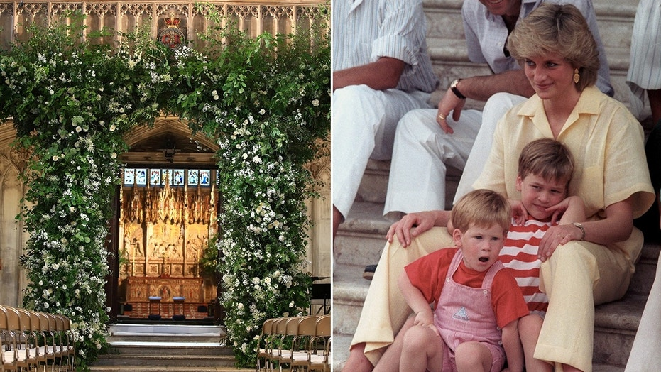 White roses, Princess Diana's favorite flower, decorate St. George's Chapel at Windsor Castle.