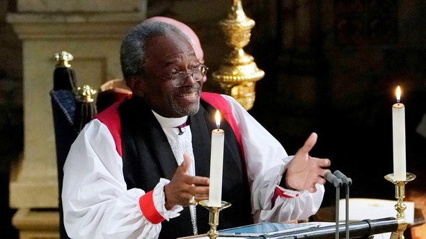 The Most Rev Bishop Michael Curry, primate of the Episcopal Church, gives an address during the wedding of Prince Harry and Meghan Markle in St George's Chapel at Windsor Castle in Windsor, Britain, May 19, 2018. Owen Humphreys/Pool via REUTERS - RC1CE2F969C0