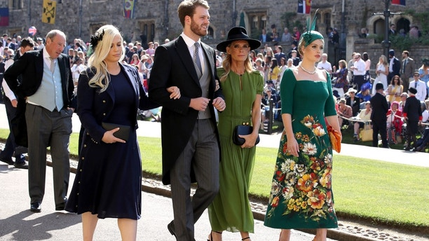 Eliza Spencer, Louis Spencer, Victoria Aitken and Kitty Spencer arrive at St George's Chapel at Windsor Castle for the wedding of Meghan Markle and Prince Harry in Windsor, Britain, May 19, 2018.Chris Radburn/Pool via REUTERS - RC15F65396D0