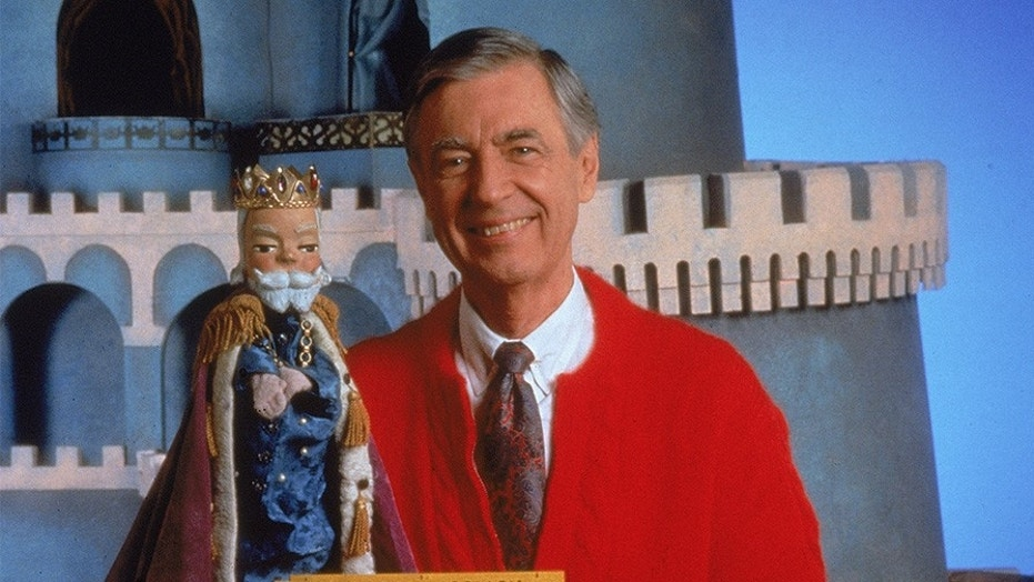 """Fred Rogers on the set of his television show """"Mister Rogers' Neighborhood"""" circa 1980s."""