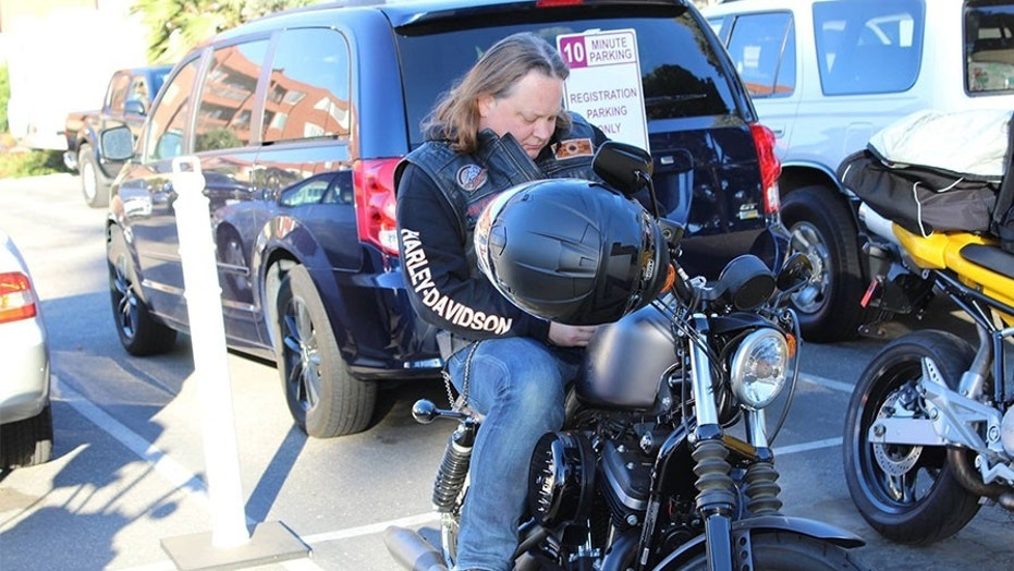 Brett Hunt on his way to return a missing Purple Heart to a Palm Springs family.