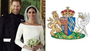 The image of the right shows the newly created coat of arms of Meghan Duchess of Sussex. Mehgan Markle and Prince Harry married on Saturday, May 19, and are now known as The Duke and Duchess of Sussex.