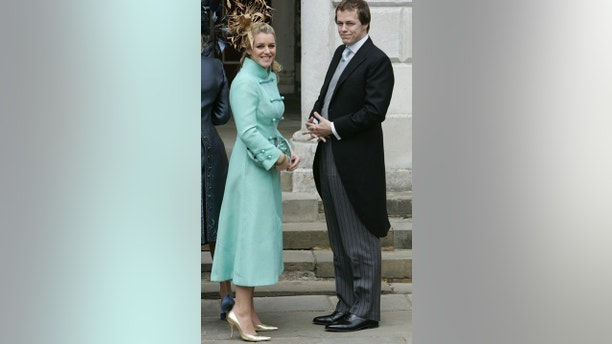 Tom Parker Bowles and his sister Laura Parker Bowles arrive at the Guildhall in Windsor, southern England, for the civil wedding ceremony of their mother [Camilla Parker Bowles and Prince Charles] April 9, 2005. [Prince Charles and his long-term partner, who became Her Royal Highness the Duchess of Cornwall on the marriage, married on Saturday in a low-key ceremony.] - PBEAHUOBEAT