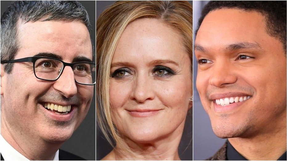 Late-night hosts John Oliver, left, Samantha Bee and Trevor Noah bring outsiders' perspectives to the United States.