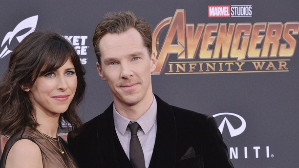 """(L-R) Sophie Hunter and Benedict Cumberbatch arrives at Marvel Studios' """"Avengers: Infinity War"""" held on Hollywood Blvd in Hollywood, CA on Monday, April 22, 2018. (Photo By Sthanlee B. Mirador/Sipa USA)(Sipa via AP Images)"""