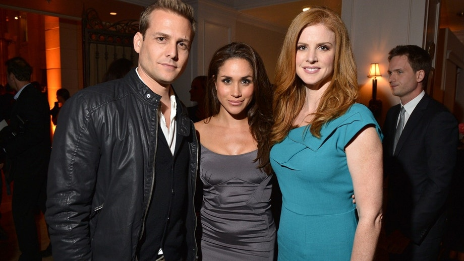TORONTO, ON - SEPTEMBER 11:  (L-R)  Gabriel Macht, Meghan Markle and Sarah Rafferty attend the InStyle and Hollywood Foreign Press Association's Toronto International Film Festival Party at Windsor Arms Hotel on September 11, 2012 in Toronto, Canada.  (Photo by George Pimentel/WireImage)