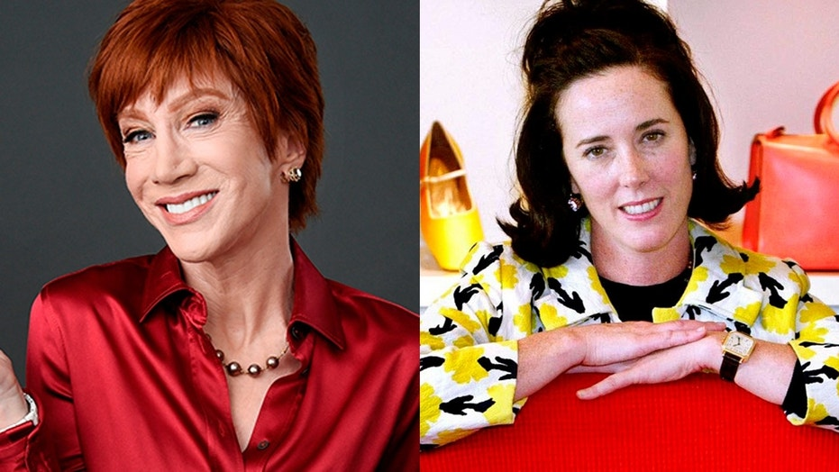 Kathy Griffin paid tribute to the late fashion designer Kate Spade while accepting her LGBTQ activism award honor in West Hollywood, Calif.