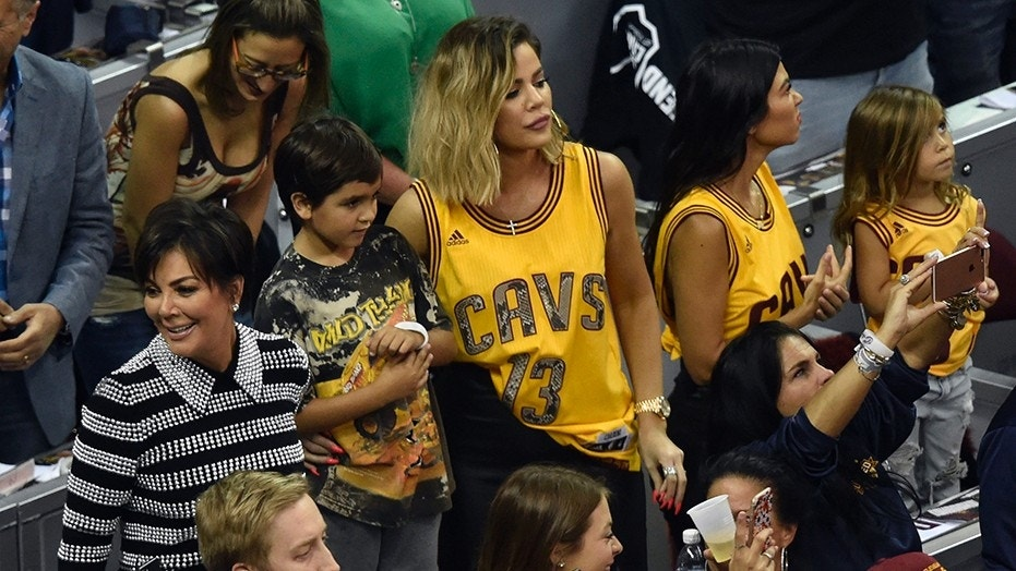 Khloe Kardashian is seen at a Cleveland Cavaliers game on June 9, 2017. She recently stepped out to support her boyfriend Tristan Thompson, but sources say her family doesn't approve.
