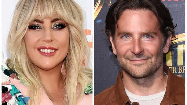 """This combination of photos shows Lady Gaga, left, at a premiere for """"Gaga: Five Foot Two"""" at the Toronto International Film Festival in Toronto on Sept. 8, 2017 and Bradley Cooper at the Warner Bros. presentation at CinemaCon 2018, at Caesars Palace in Las Vegas on April 24, 2018. Lady Gaga and Bradley Cooper sing in the first trailer for the upcoming remake of the 1937 film """"A Star Is Born."""""""