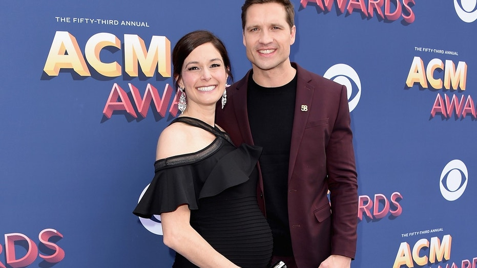 Laney Beville Hayes, left, and Walker Hayes, right, attend the 53rd Academy of Country Music Awards at MGM Grand Garden Arena on April 15, 2018 in Las Vegas, Nevada.