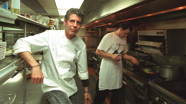 Anthony Bourdain, a chef at the Les Halles Restaurant in New York City, has just written a behind-the-scenes take on the restaurant world where he has worked for the past 25 years. Bourdain is shown here in the kitchen at the Les Halles restaurant in Washington, DC, Tuesday, June 13, 2000. (Credit Image: The Washington Times/ZUMAPRESS.com)