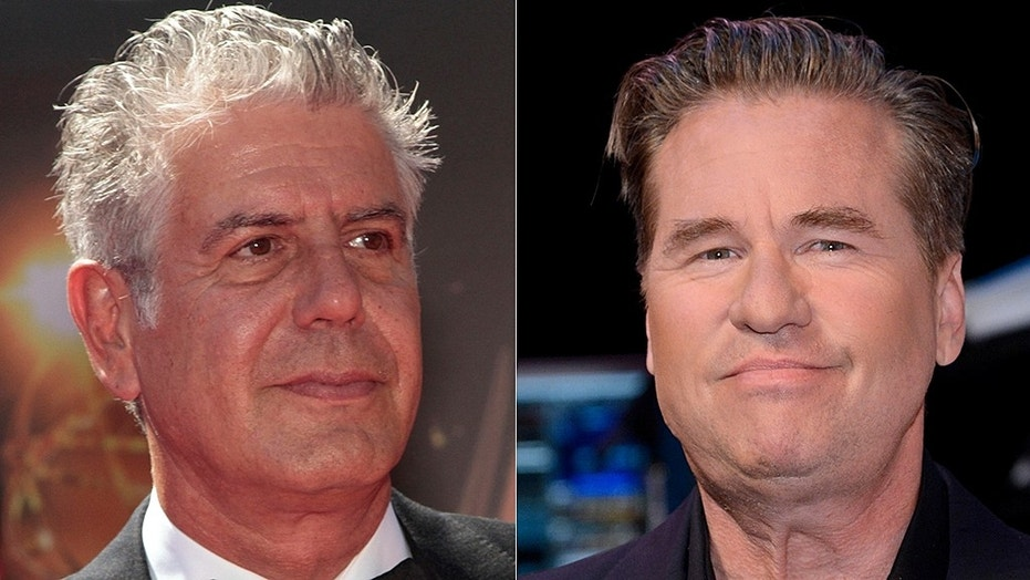 """Actor Val Kilmer (right) called celebrity chef's Anthony Bourdain's death """"so selfish."""""""
