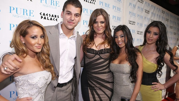 LAS VEGAS, NV - JUNE 27:  Actress Adrienne Bailon, reality television personalities Robert Kardashian, Khloe Kardashian, Kourtney Kardashian and Kim Kardashian attend PURE Nightclub for Khloe Kardashian's birthday on June 27, 2008 in Las Vegas, Nevada.  (Photo by Chris Weeks/WireImage)