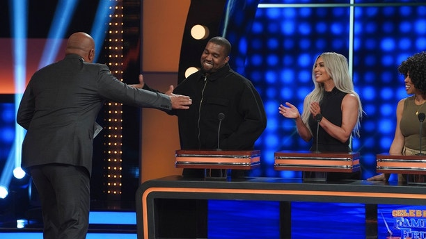 "CELEBRITY FAMILY FEUD - ""The Kardashian Family vs. The West Family"" - The hour-long episode will feature the family that everyone has been waiting to see battle it out on ""Celebrity Family Feud,"" the Kardashian family vs. the West family! The season premiere of ""Celebrity Family Feud"" airs SUNDAY, JUNE 10 (8:00-9:00 p.m. EDT), on The ABC Television Network. (ABC/Byron Cohen)KANYE WEST, KIM KARDASHIAN WEST, KIM WALLACE"