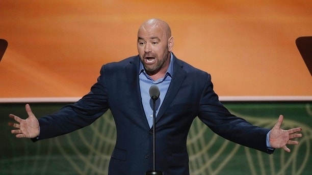 UFC fight promoter Dana White speaks on behalf of his friend, Republican presidential nominee Donald Trump, during the second session of the Republican National Convention in Cleveland, Ohio, U.S. July 19, 2016. REUTERS/Mike Segar  - HT1EC7K01PU0L