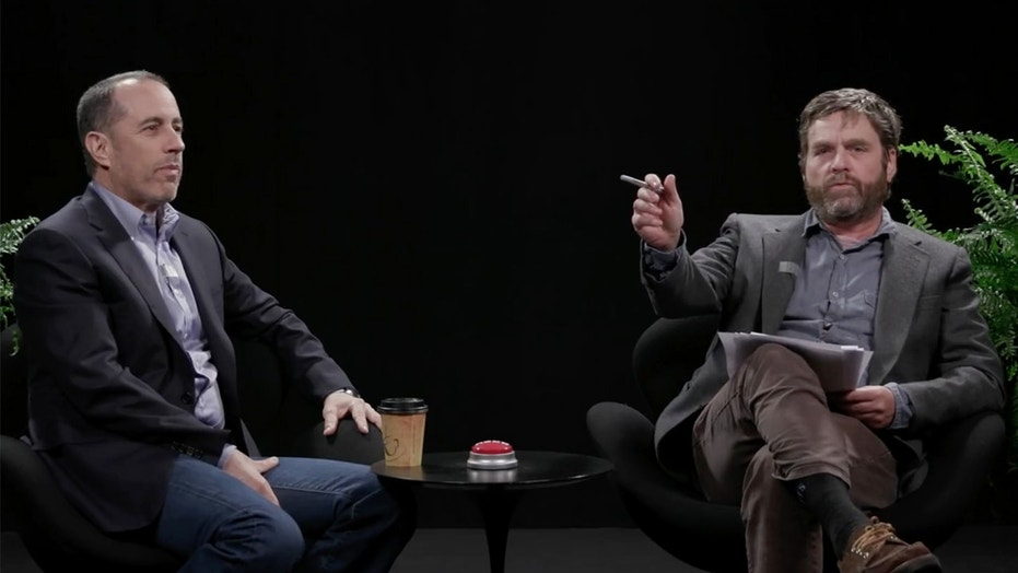 "Jerry Seinfeld, left, was a guest on Zach Galifianakis', right, show ""Between Two Ferns."""