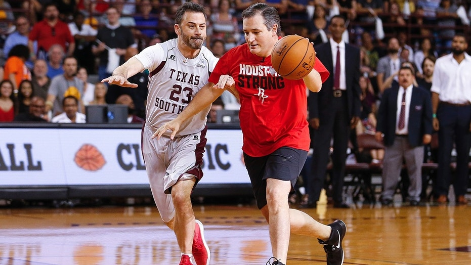 Ted Cruz challenges and beats Jimmy Kimmel in charity basketball game