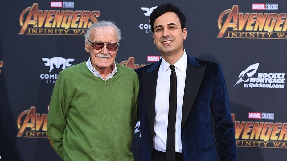 """Stan Lee, left, and Keya Morgan arrive at the world premiere of """"Avengers: Infinity War"""" on Monday, April 23, 2018, in Los Angeles. (Photo by Jordan Strauss/Invision/AP)"""