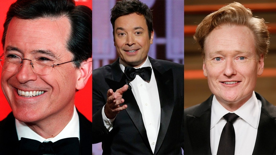 Stephen Colbert, Jimmy Fallon and Conan O'Brien got together for a sketch about Trump's review of them.