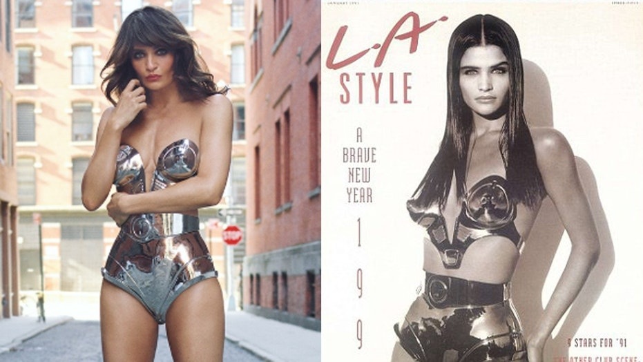 Supermodel Helena Christensen wears the same metal bikini she wore in 1991 for another photo shoot.