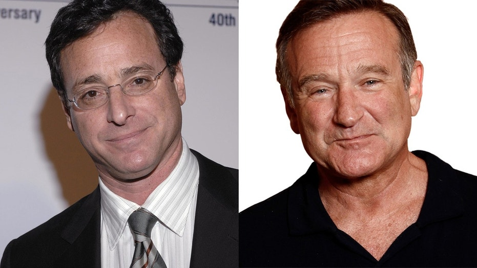 Bob Saget fought back tears discussing his friend, late comic Robin Williams.
