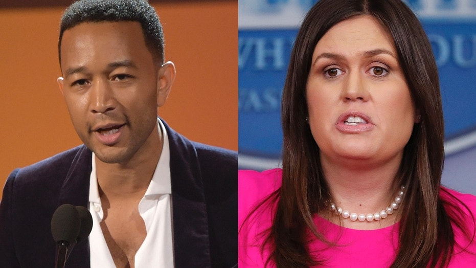 John Legend, left, spoke out against Sarah Sanders.