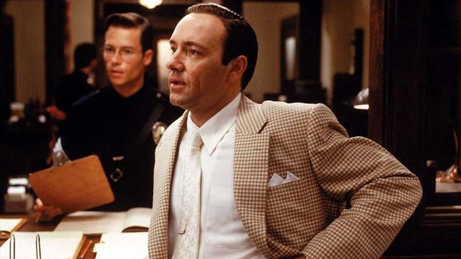 "Guy Pearce [left] said Kevin Spacey [right] was ""a handsy guy"" when they worked together on the 1997 film ""L.A. Confidential."""