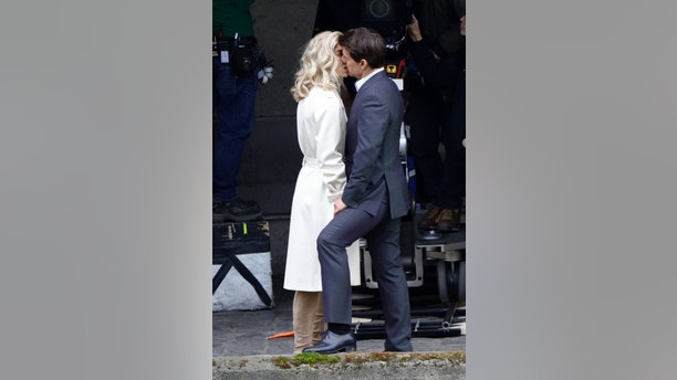 Tom Cruise seen kissing Vanessa Kirby during a scene for 'Mission Impossible 6' in Paris, France, on May 2, 2017.