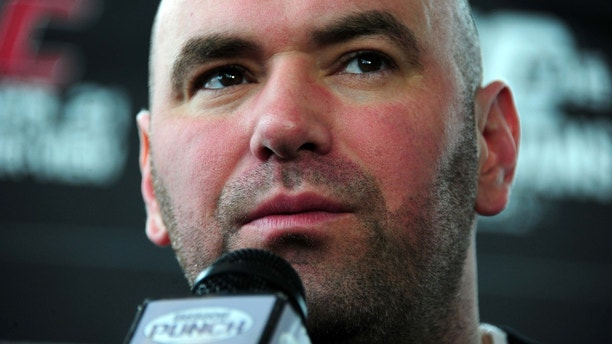 ATLANTA, GA - FEBRUARY 16: UFC President Dana White speaks during a press conference promoting UFC 146 at Philips Arena on February 16, 2012 in Atlanta, Georgia. (Photo by Scott Cunningham/Getty Images) *** Local Caption *** Dana White