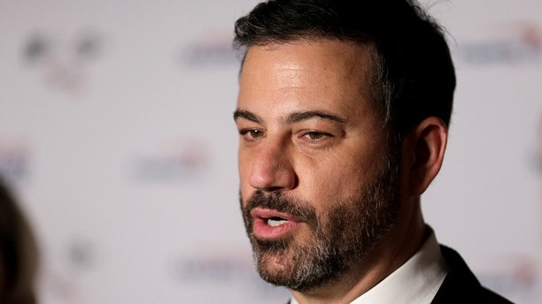 Comedian Jimmy Kimmel speaks to the media at a gala honoring David Letterman who is receiving the Mark Twain Prize for American Humor at Kennedy Center in Washington U.S