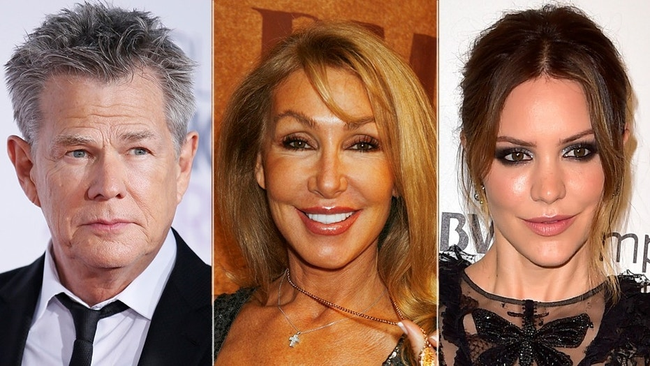 Left to right: David Foster, Linda Thompson and Katharine McPhee
