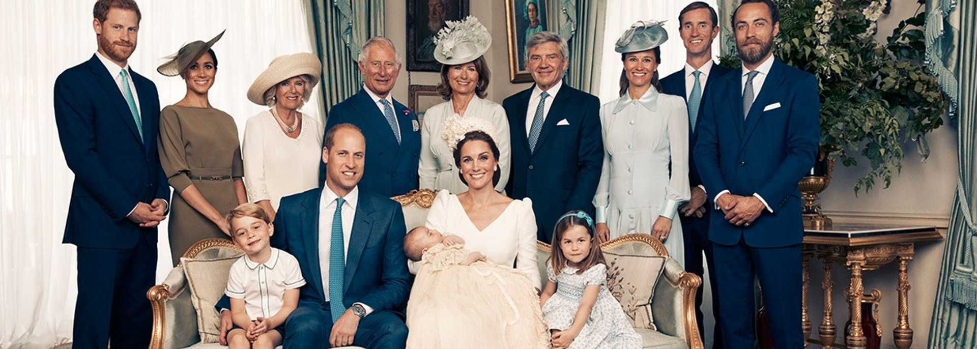 This Monday, July 9, 2018, photo provided by the Duke and Duchess of Cambridge shows the official photograph to mark the christening of Prince Louis at Clarence House, following Prince Louis' baptism, in London. Seated, left to right: Prince George, Prince William, the Duke of Cambridge; Prince Louis; Kate, the Duchess of Cambridge; and Princess Charlotte. Standing, left to right: Prince Harry, The Duke of Sussex; Megan, the Duchess of Sussex; Camilla, the Duchess of Cornwall; Prince Charles, Prince of Wales; Carole Middleton, Michael Middleton, Pippa Matthews, James Matthews and James Middleton. (Matt Holyoak/Camera Press/Duke and Duchess of Cambridge via AP)