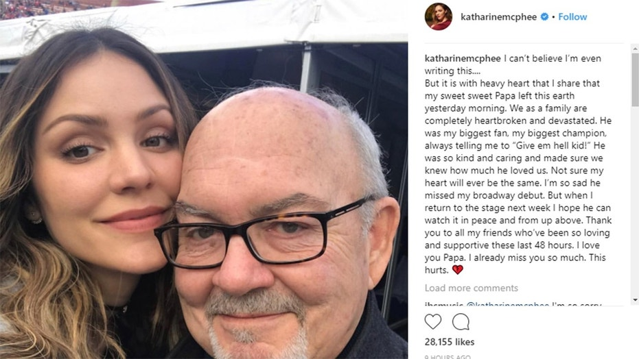 Katharine McPhee revealed that her father, Daniel, has passed away.